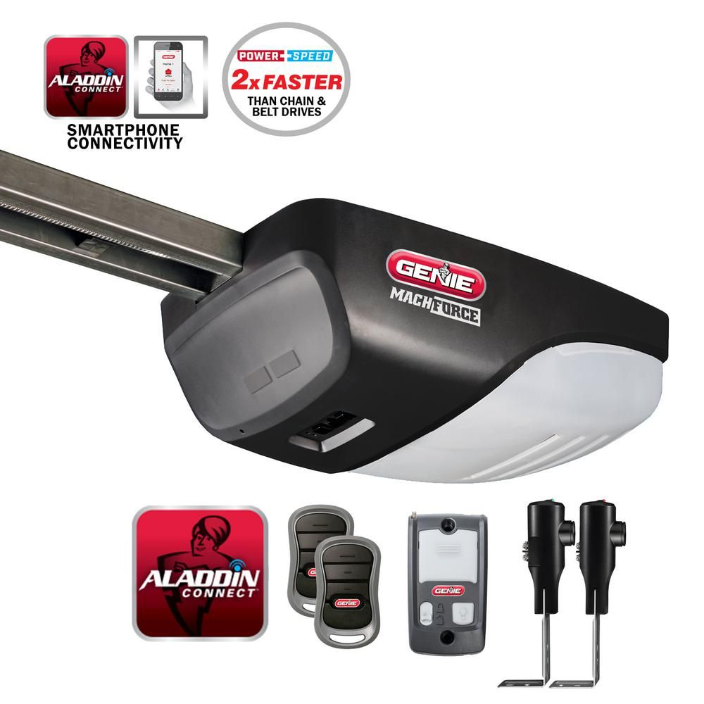 Genie Machforce 2 Hpc Premium Garage Door Opener Exclusive Screw Drive Aladdin Connect Smart Home W Alexa Google Assistant 4063 Tnmsv The Home Depot Garage Door Opener Smart Garage Door Opener