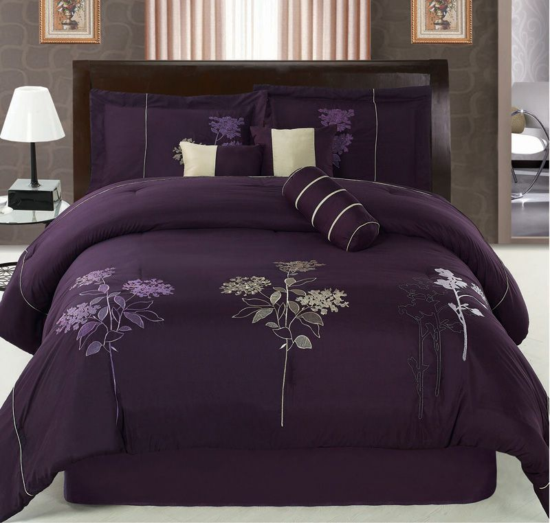 7pcs queen purple floral embroidered comforter set