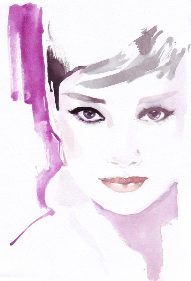 Custom portraits Fashion illustration, fashion watercolor, pink, magenta, portrait, watercolour portrait of Audrey Hepburn. $25.00, via Etsy.