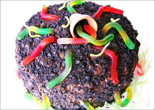 Chocolate cake with oreo crumb dirt and gummy worms The kids at
