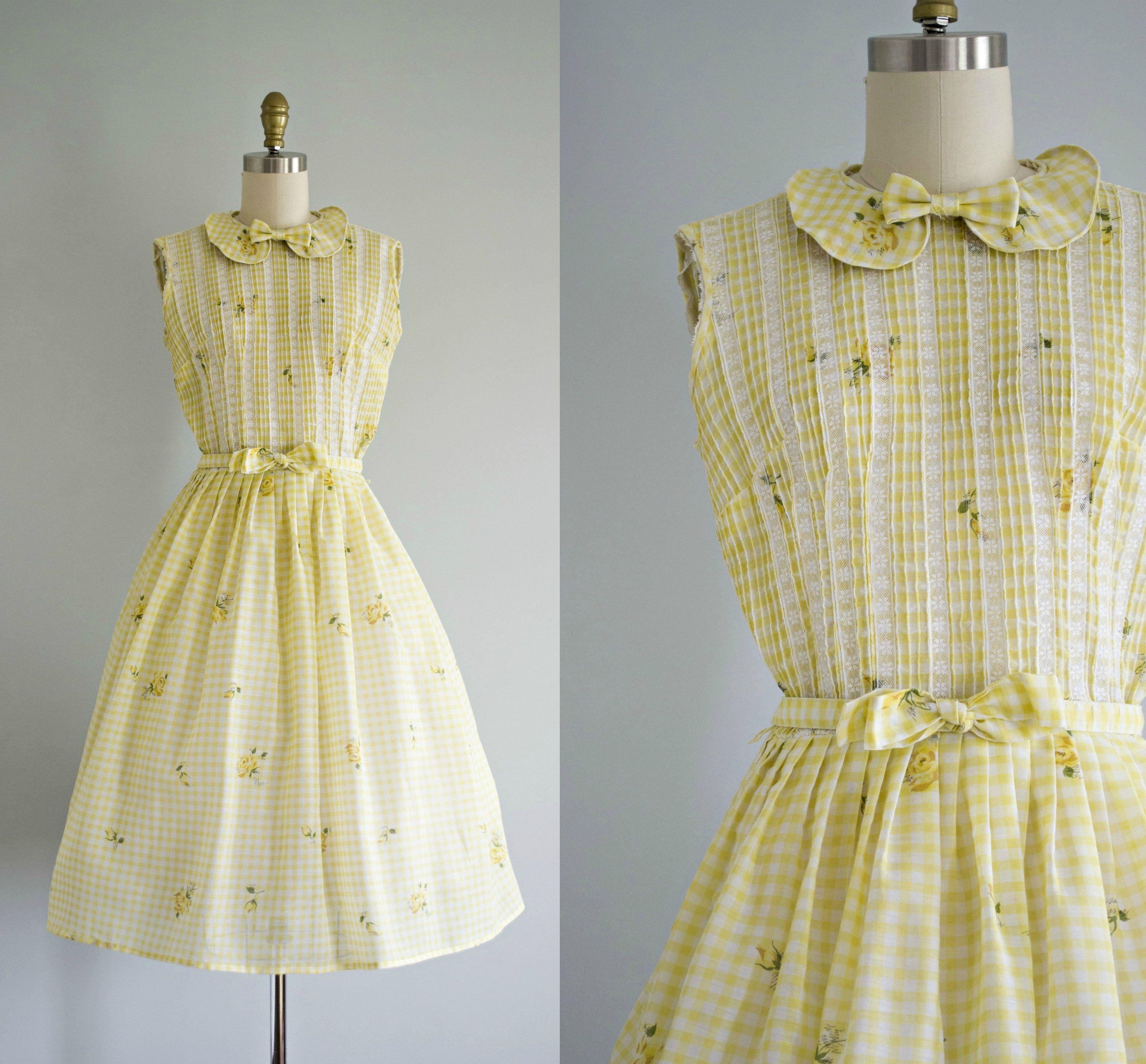 1950s Yellow Cotton Day Dress With Bow Vintage 50s Floral Etsy [ 2784 x 3000 Pixel ]