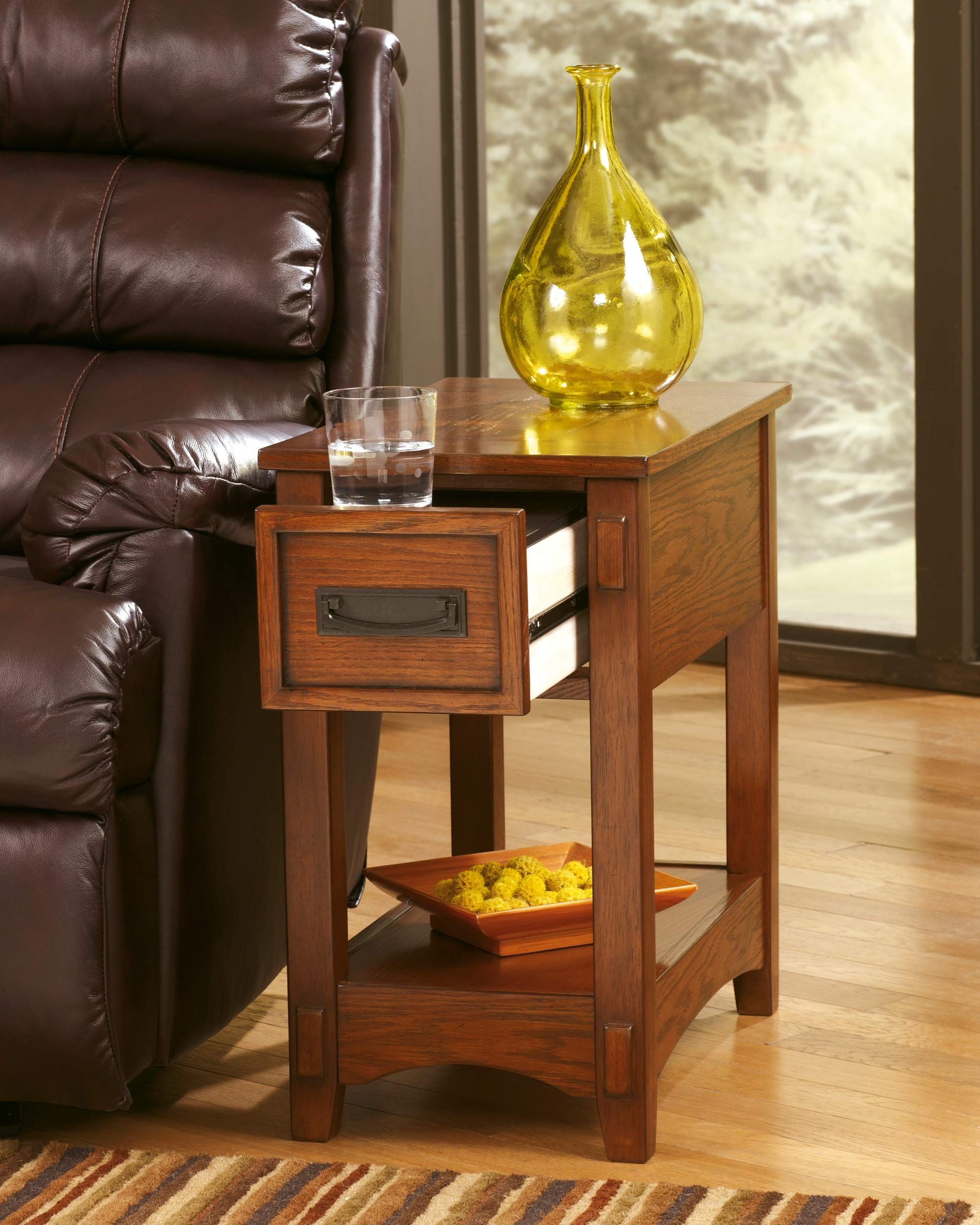 Ashley Furniture Signature Design Breegin Chairside End Table 1 Drawer Contemporary Brown B In 2020 Oak End Tables End Tables With Drawers Furniture Side Tables