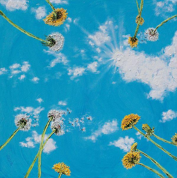 Blur Dandelion In The Sky Framed Art Print By Artlindley: Blue Sky Sowing Dandelion Dreams By Cynthia Christine
