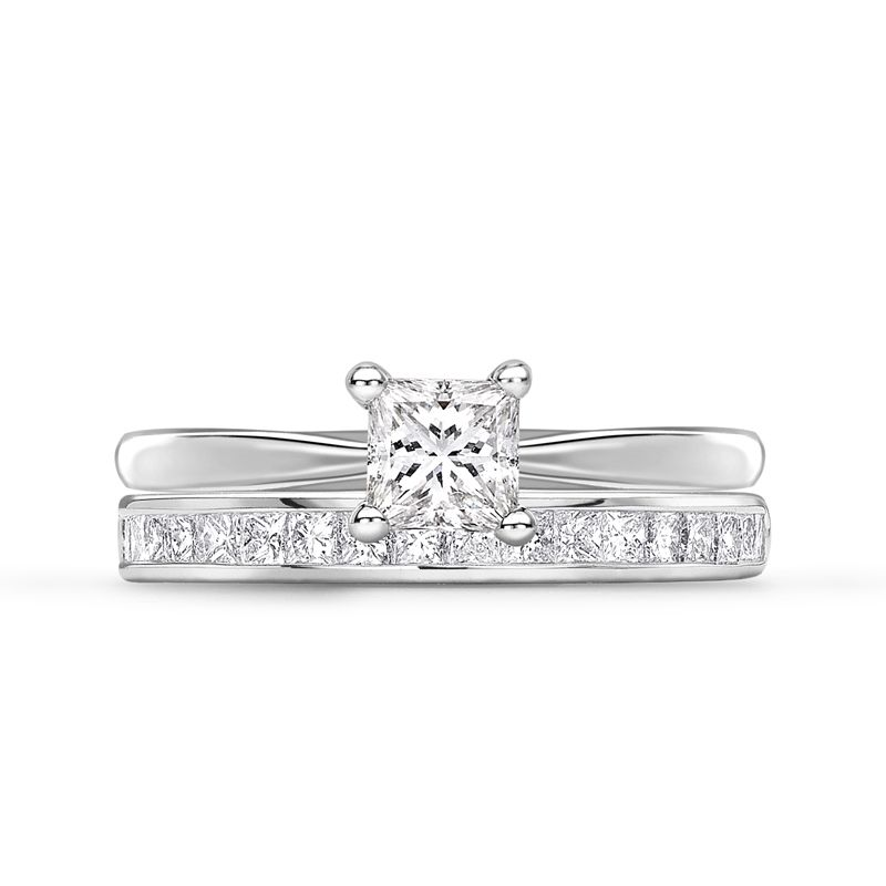1745 Collection Oxford Diamond Wedding Ring and Diamond Engagement