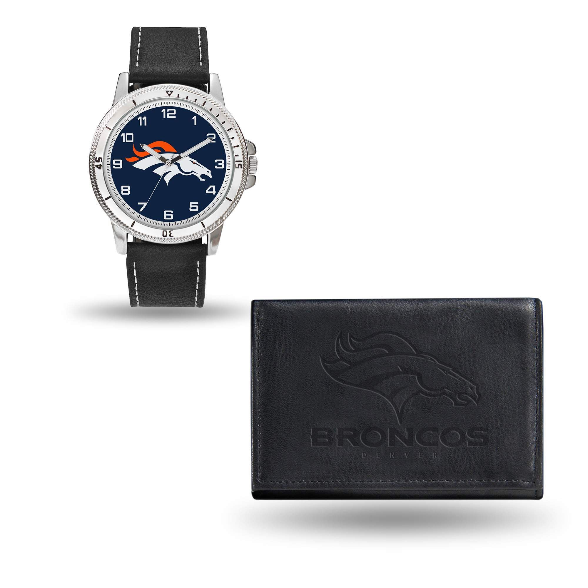 Denver Broncos Watch and Black Leather Wallet Set