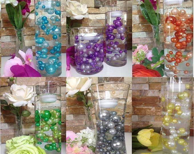 Unique Floating Pearl Centerpieces 80pc Mix Jumbo Pearls Vase