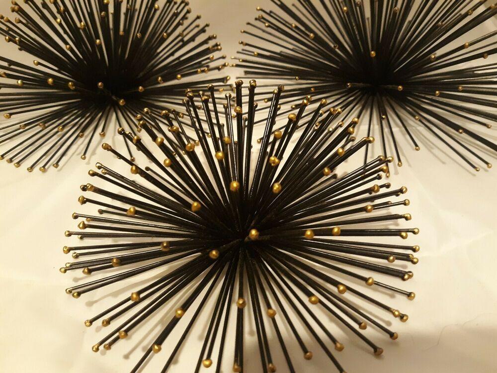 Vintage Set Of 3 Mcm Metal Sculpture Art Sunburst Sea Urchin Wall