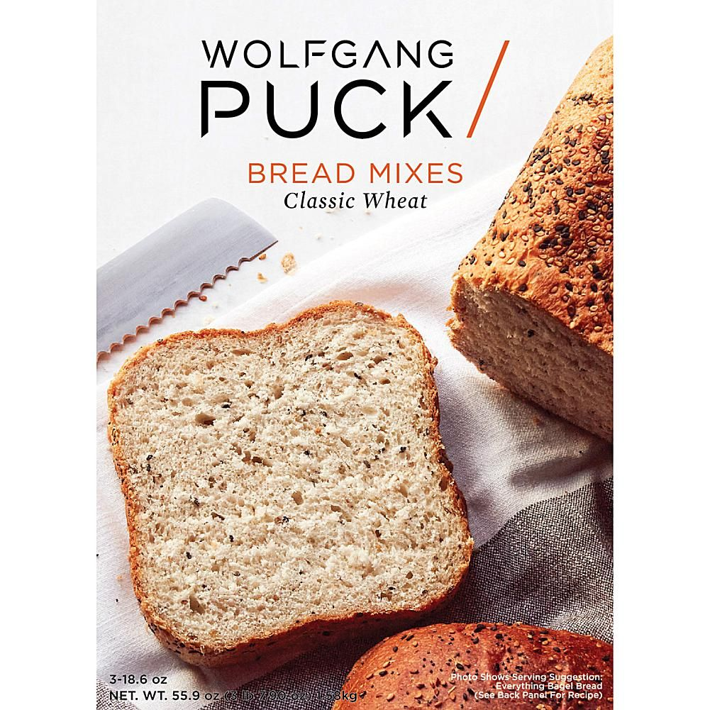 Wolfgang Puck 3-pack Classic Wheat Bread Mix World-renowned for his tender, yet crispy breads, Wolfgang Puck brings his magic home to you. Enjoy the hearty fresh taste of Wheat Bread, designed by Wolfgang Puck, in the comfort of your own home. What You Get (3) 18.6 oz. Pouches of bread mix Good To Know Contains eggs, milk, soy and wheat.