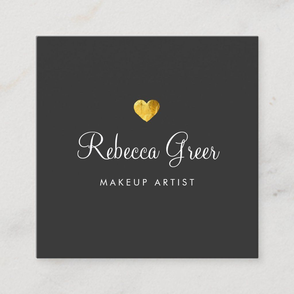Cute Gold Heart Black Beauty Consultant Square Business Card