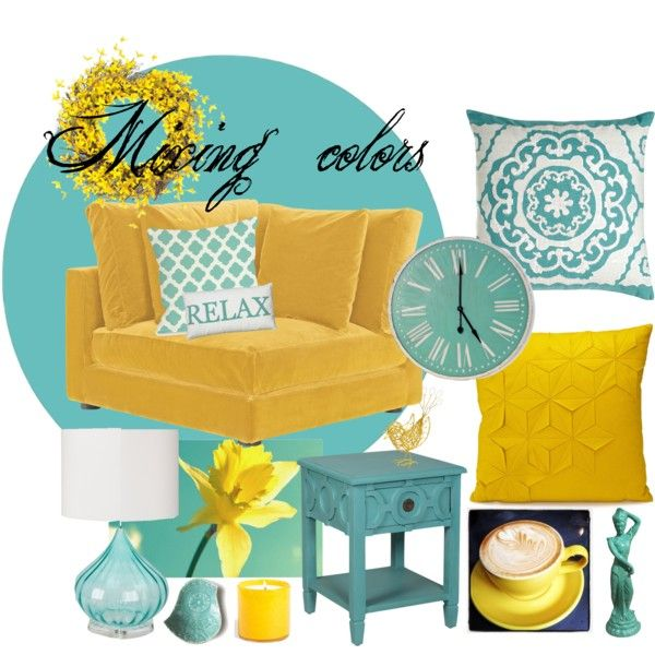 Teal And yellow room on polyvore by CoraLynn14 one of my designs @coralove<3