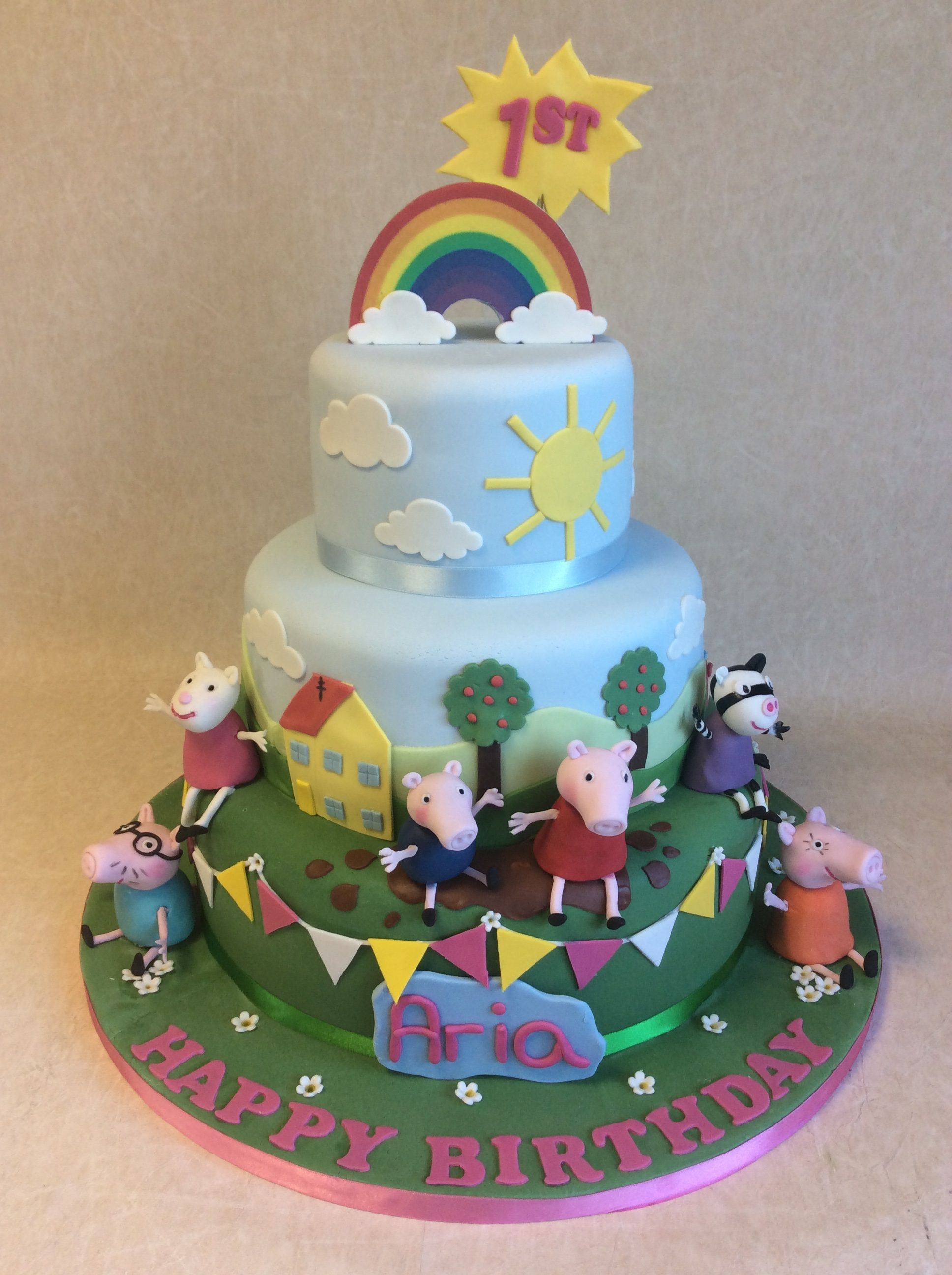 Large 100 Portion 3 Tier Peppa Pig Theme 1st Birthday Cake For