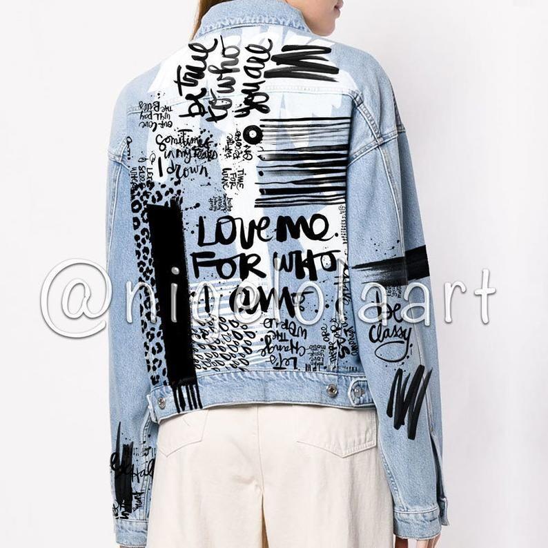 Hand painted jacket Jean jacket Art jacket Painted denim Grunge Custom text Graffiti jacket Bomber jacket Badass jacket Light Jacket quote