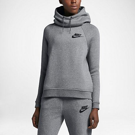 Nike Sportswear Rally Funnel Neck Women's Sweatshirt Carbon Heather/Dark Grey/Black