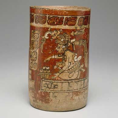 Cylinder vessel with Itzamna, Moon Goddess, and scribe Mexico or Guatemala, 700-800