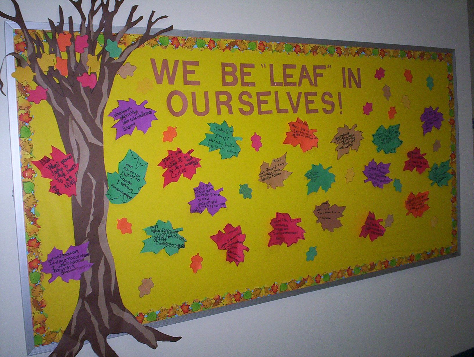 bulletin board i did when i taught first grade. on the leaves, my students wrote what they believed they would do when they grew up. and they all had to include 'going to college'! #novemberbulletinboards