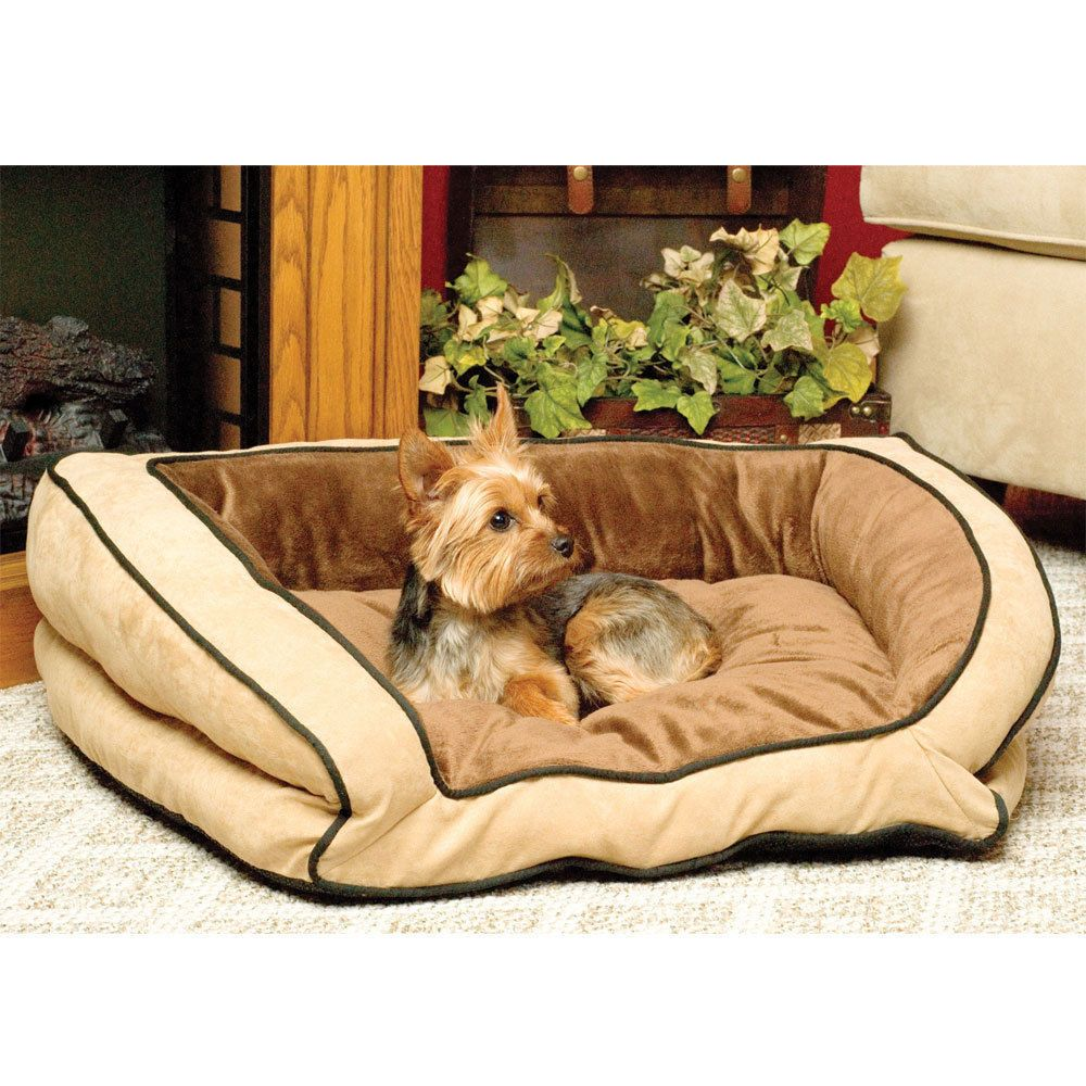 K H Bolster Couch Dog Bed Large Mocha Tan 28 X40 Mpn 7321 Machine Washable Khpetproducts Dog Couch Dog Couch Bed Bolster Dog Bed