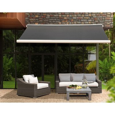 Sunjoy Sunjoy Full Cassette 14ft W X 10ft D Awning Color Antracita Patio Awning Retractable Awning Pergola