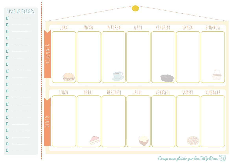 menu de la semaine vierge planning hebdo de repas semainier imprimer menus de la semaine. Black Bedroom Furniture Sets. Home Design Ideas