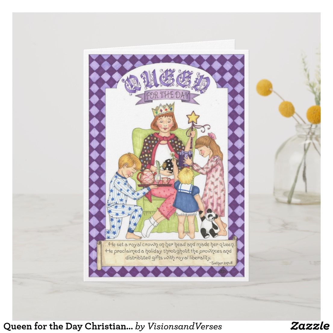 Queen For The Day Christian Birthday Card Zazzle Com Christian Birthday Cards Christian Birthday Birthday Cards