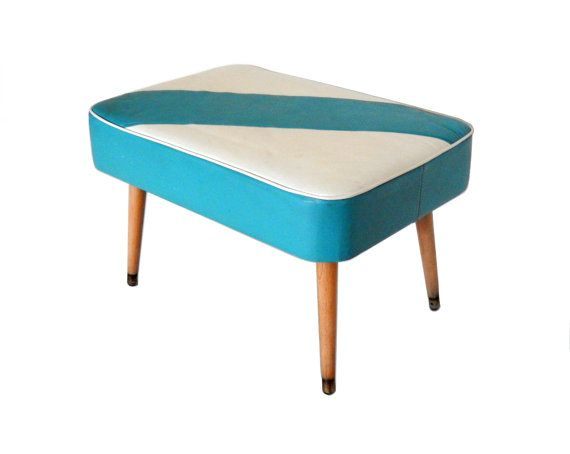 Mid Century Ottoman Turquoise Blue White Foot Stool Upholstered