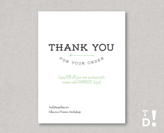 Thank You For Your Order Card Printable Instant By Totallydesign 10 00 Business Thank You Cards Business Thank You Thank You Card Images