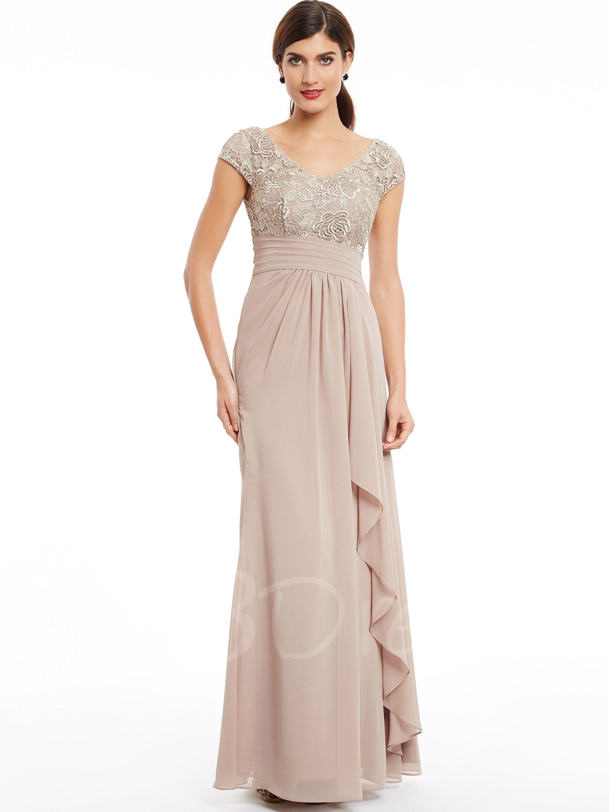 V Neck Cap Sleeves Ruffles Sheath Evening Dress Vestidos