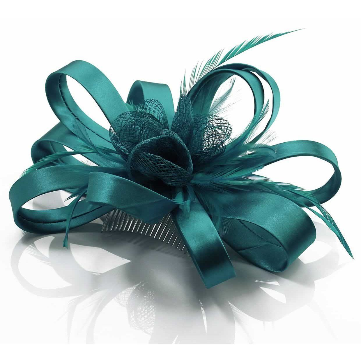 teal blue satin flower & feather fascinator on hair comb | ebay