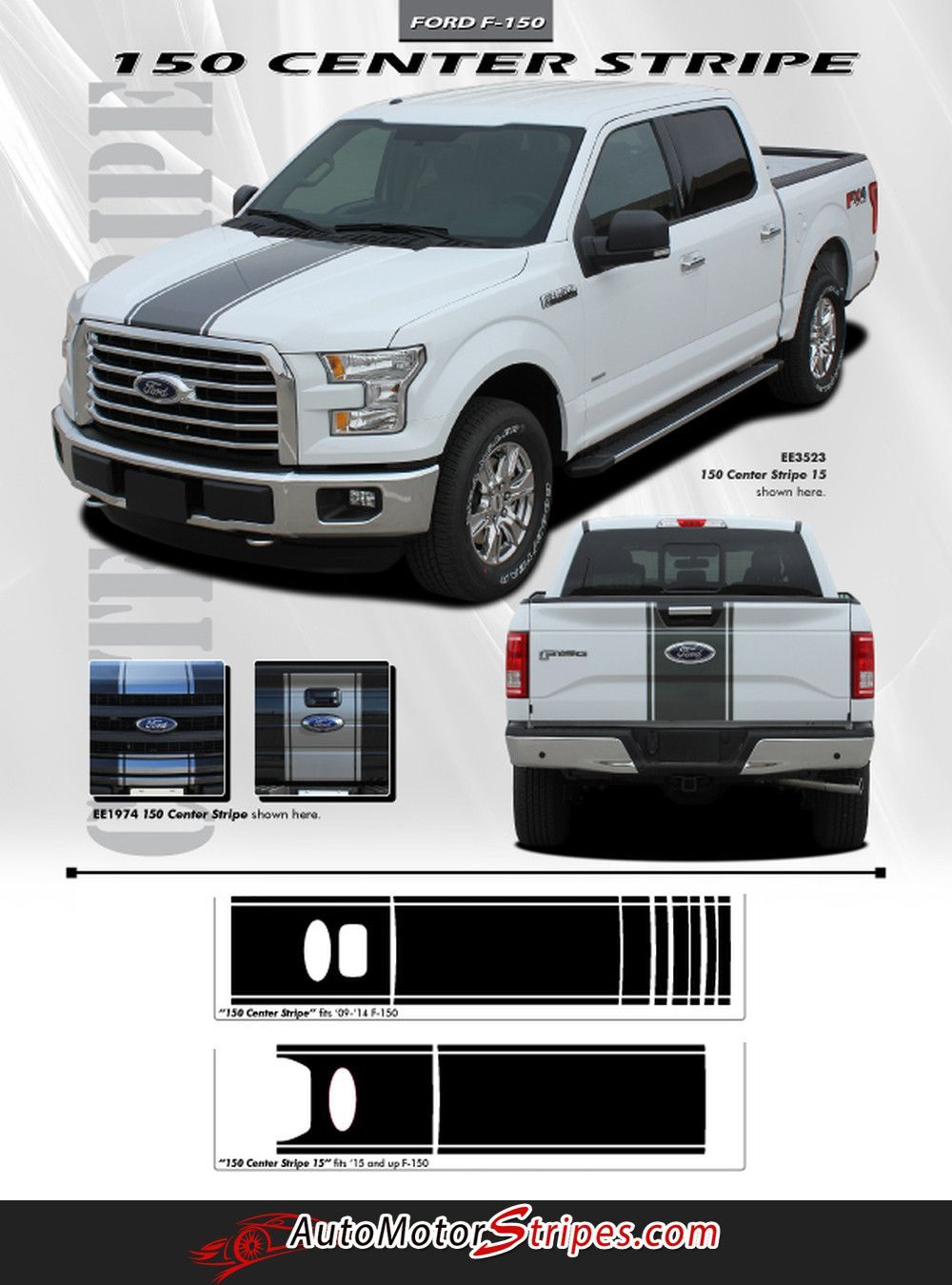 Ford F Center Stripe Factory Style Vinyl Decal M - Truck bed decals customford f vinyl graphics for bed fender