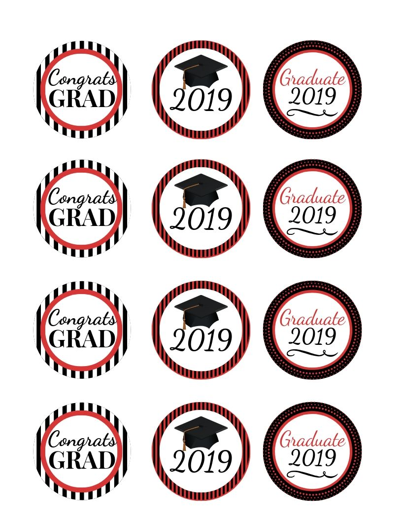Photo of FREE Graduation Party Cupcake Toppers