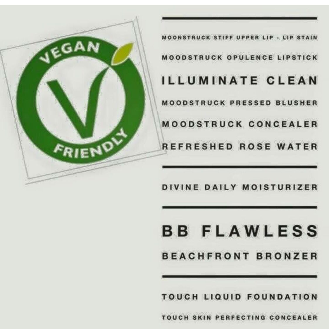 List of vegan friendly makeup products Younique has to offer    http://www.youniqueproducts.com/AshleeHicks2/party/3559615/view