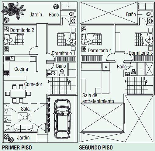 planos de casa en m con doble altura via