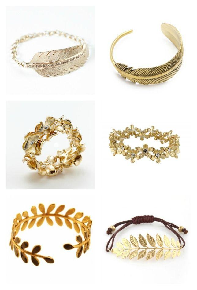 09fdc724f7e2 pulseras bracelet brazalete oro plumas fether flores flower laurel ...