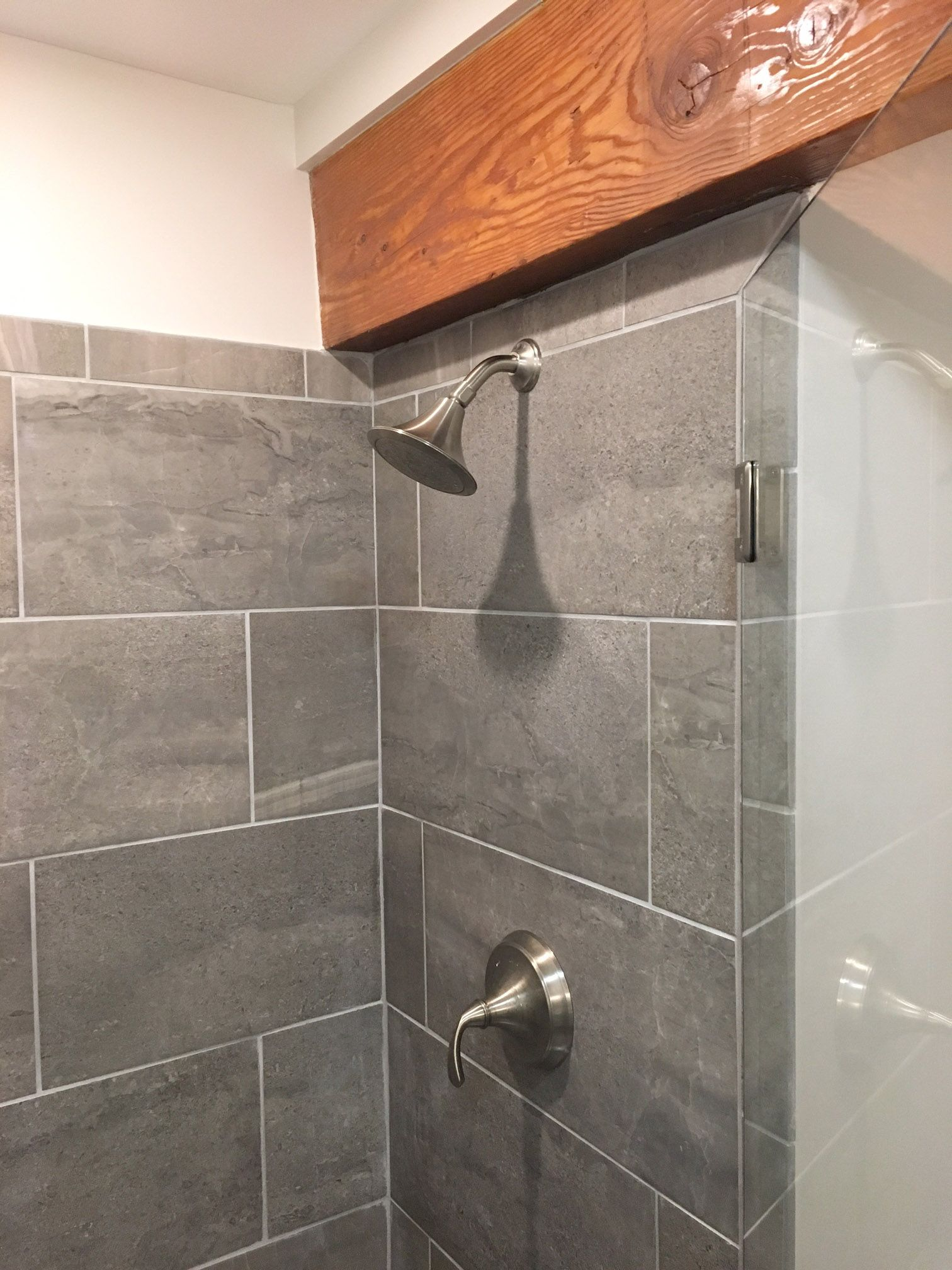 Grey Tile Bathroom Modern Rustic Bathroom Bathroom Design