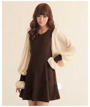 Fashionable Brown / Black cute dress