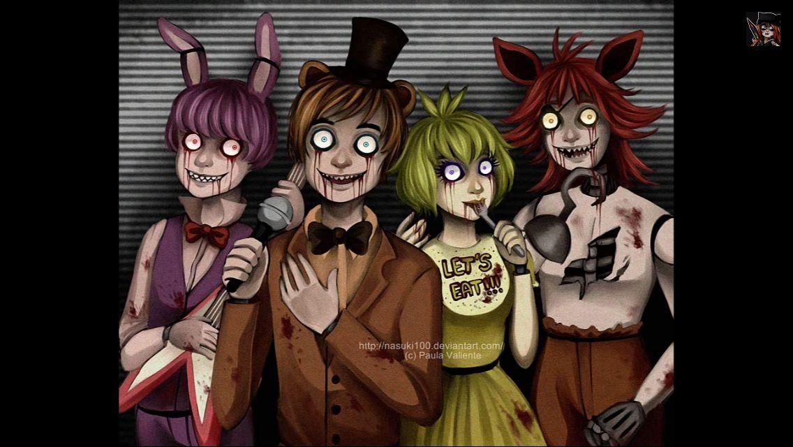 Bonnie, Freddy, Chechi, and Foxy