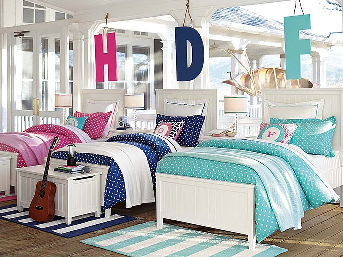 Polka Dot Bedding Pbteen Beadboard Color Block Bedroom
