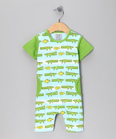 Take a look at this Green Latergator Romper - Infant by New Potatoes on #zulily today!