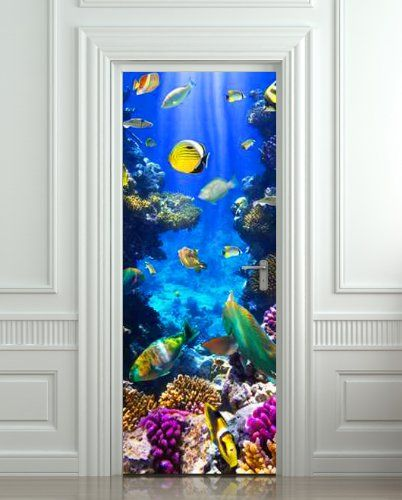 Pulaton Door Mural Underwater Sticker Ocean Diving