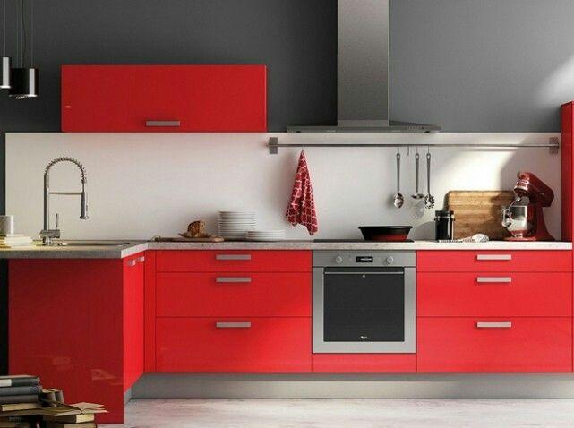 Cuisine meubles rouge et gris design for New home Pinterest - Plan De Travail Cuisine Rouge