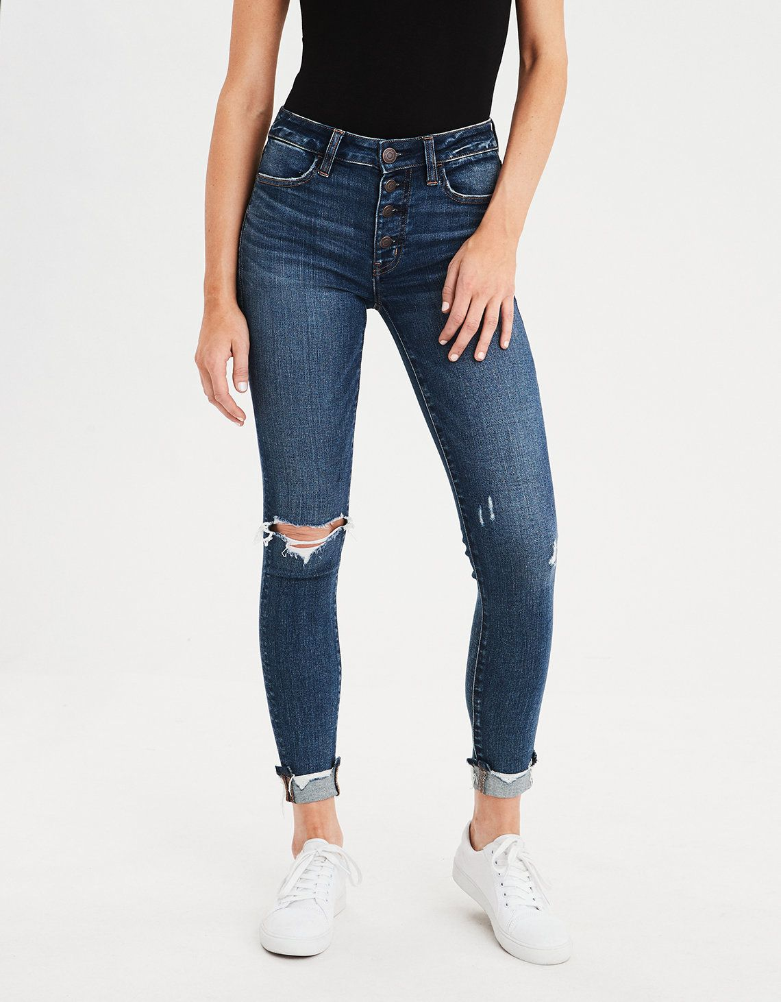 19df866a7b628 AE Ne(X)t Level High-Waisted Jegging Crop, Faded Indigo | American Eagle  Outfitters