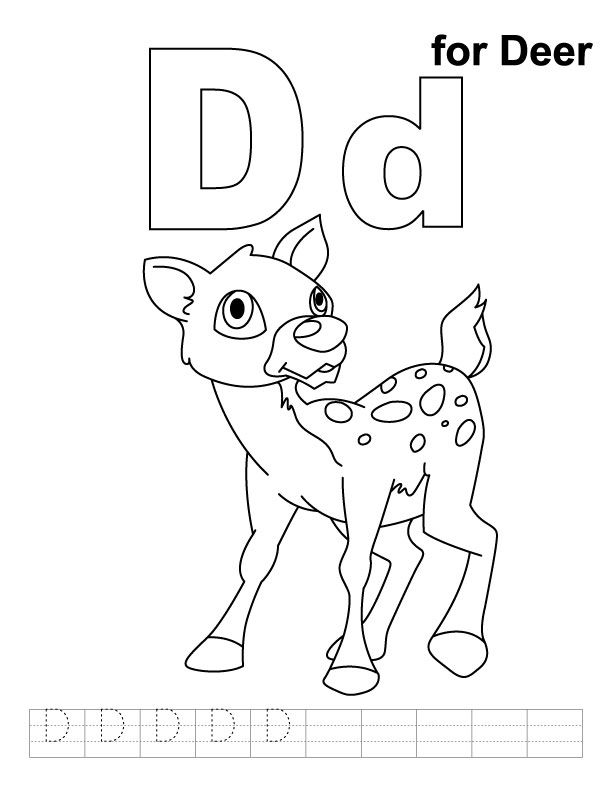 D For Deer Coloring Page With Handwriting Practice Deer Coloring Pages Kids Handwriting Practice Zoo Phonics