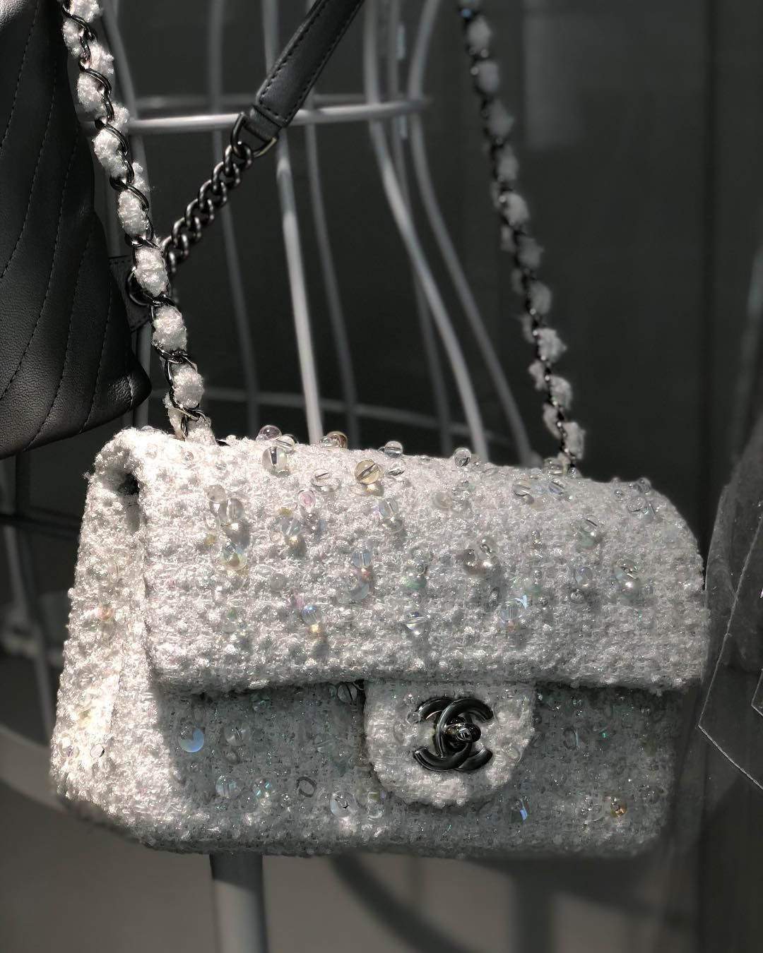 43f5ee4b8ebc The Chanel Classic Flap Bag with embroideries. Feels like snow flakes,  beautiful and clean. Details via here.