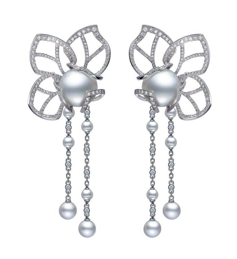 Mikimoto Magnolia Earrings with diamonds and South Sea pearls