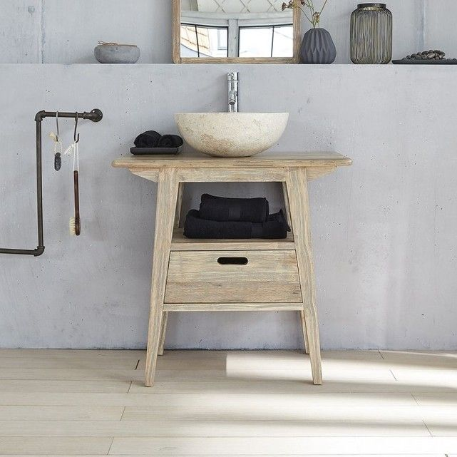 On adore ce meuble de salle de bain en bois d\u0027hévéa à la couleur