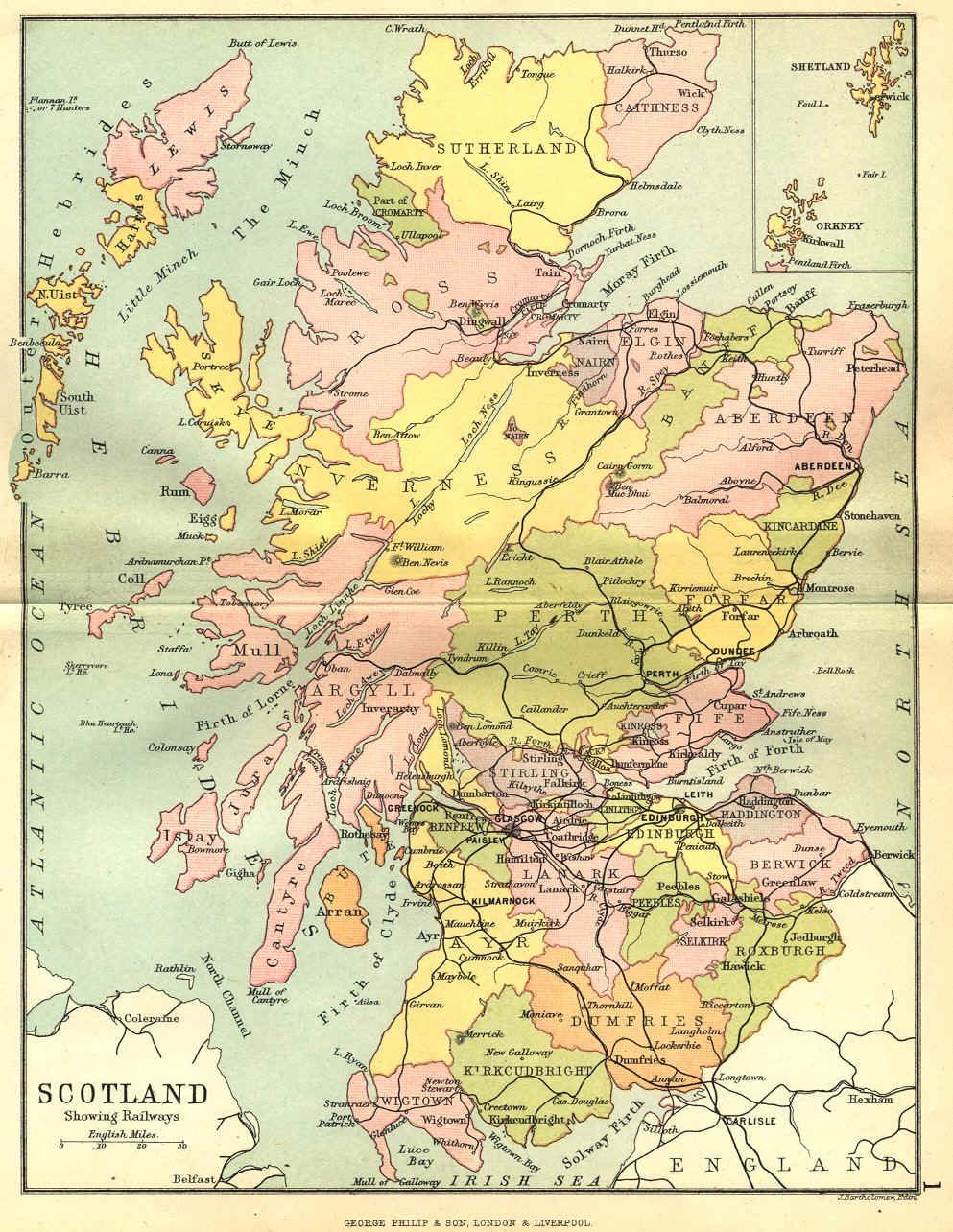 Bartholomews Map of Scotland showing county boundaries , towns and