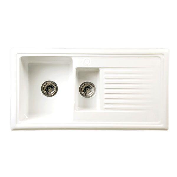 530x1000 Lomond 1.5 Bowl RVS White Ceramic   Kitchen Sinks ...