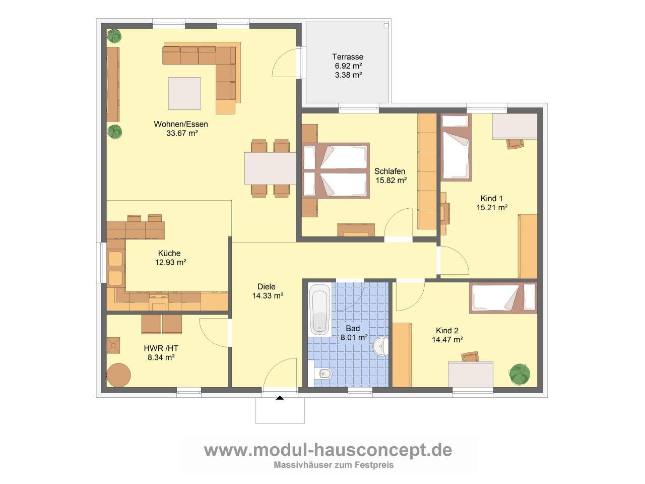 Winkelbungalow 6 Zimmer Grundriss M\u00f6bel und Heimat