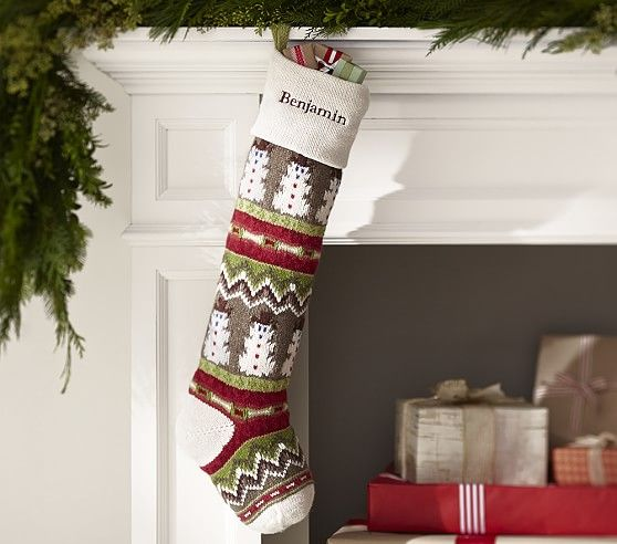 Ivory Snowman Classic Fair Isle Stocking | Pottery Barn Kids ...