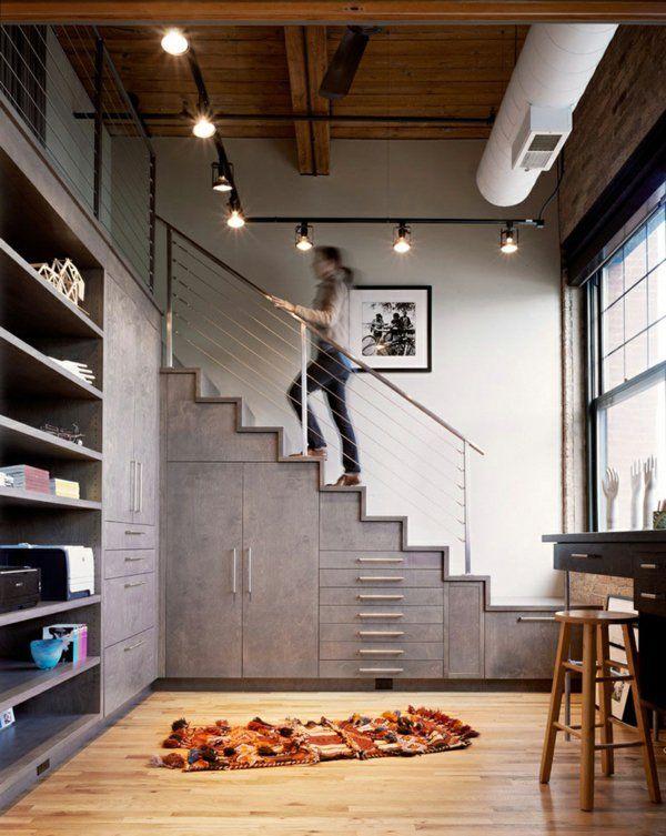Moderne Treppen Mit Zusätzlicher Funktion Gestalten Schhränke Darunter