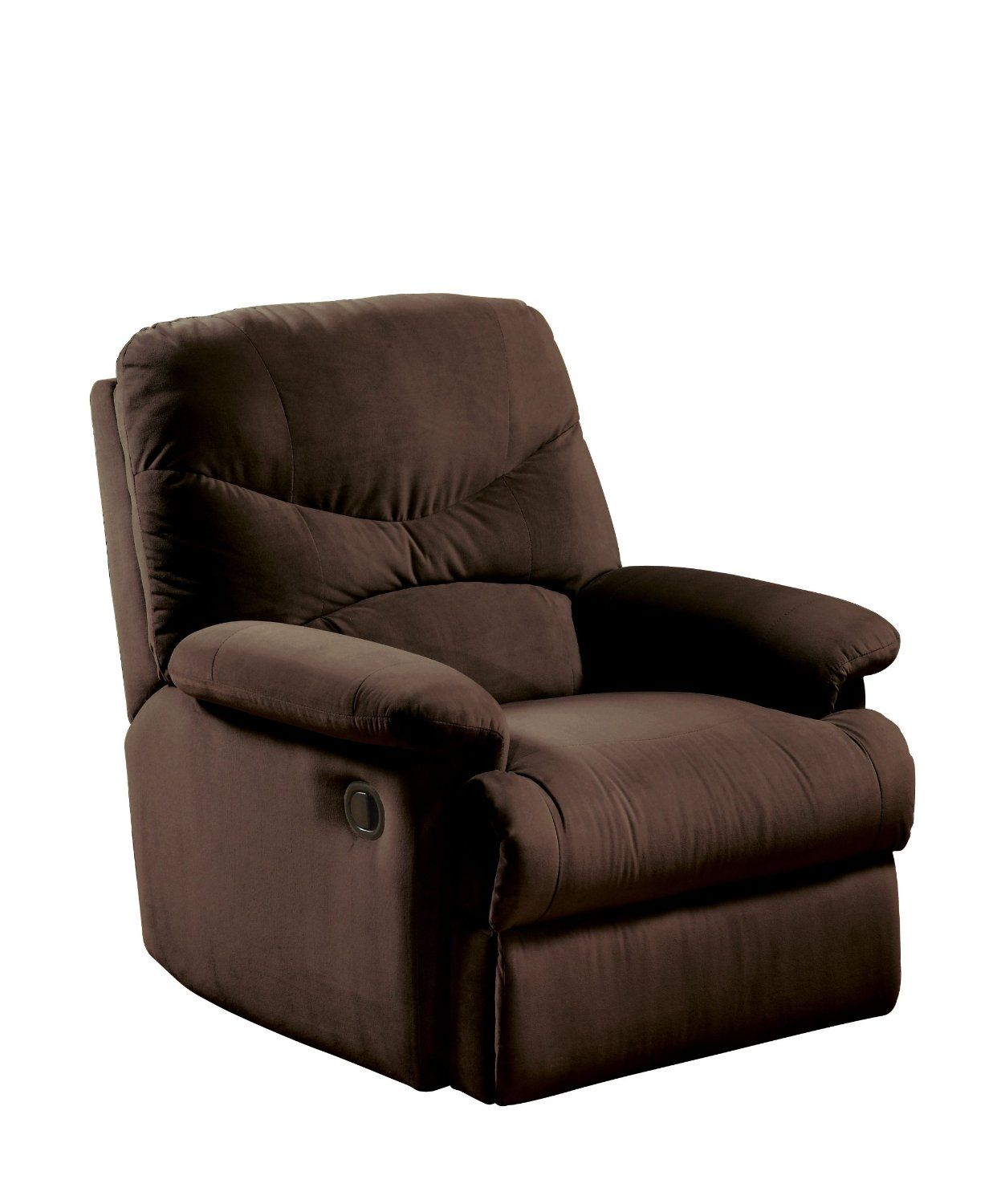 Oakwood Chocolate Microfiber Attractive Comfortable Recliner Chair From Acme Great For Use In Smaller RoomsSturdy Hardwood Frames And Arm Rests